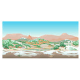 Natural desert landscape, valley in early spring Royalty Free Stock Images