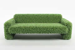 Natural design sofa made from grass on white background Stock Photos