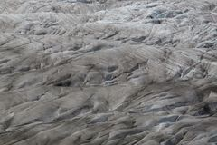 Details of glacier Aletsch surface with crevasses Royalty Free Stock Photography