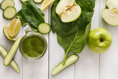 Natural detox green smoothie ingredients on white wood background Stock Photography