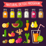 Natural detox program. Set of organic food with different detox program represented in special bottles. Fully editable vector illustration. Perfect for detox Stock Image