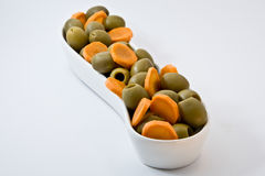 Natural diet food. olives and carrot. Fitness food. Diet way. Stock Photography