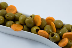 Natural diet food. olives and carrot. Fitness food. Diet way. Royalty Free Stock Image