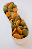Natural diet food. olives and carrot. Fitness food. Royalty Free Stock Image