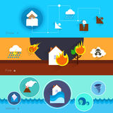 Natural disaster banners. Natural disaster danger banner set with snow fire water  vector illustration Stock Photography