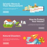 Natural Disaster Banners. Natural disaster horizontal banners set with seismic waves measurement house protect elements isolated vector illustration Stock Image