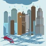 Natural disaster catastrophe .Flood disaster concept illustration. Stock Image