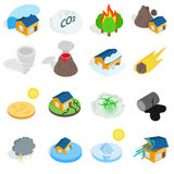 Natural disaster catastrophe icons set Royalty Free Stock Image