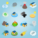 Natural disaster catastrophe isometric set Stock Photos