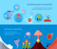 Natural disaster 2 flat banners composition Stock Photography