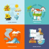 Natural Disaster Flat. Natural disaster design concept set with global warming life threat power of nature seismic activity flat icons isolated vector Stock Photos