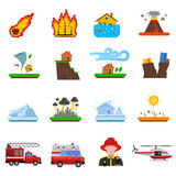 Natural Disaster Flat Icons Collection. Natural disasters flat icons set with forest fire tsunami wave and earth quake symbols abstract isolated  illustration Royalty Free Stock Photography