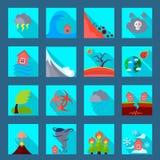 Natural disaster flat icons set Royalty Free Stock Images