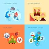 Natural disaster 4 flat icons square Stock Images