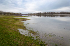 Natural disaster. Flooding of the Tisza river at Tiszalok, Hungary Stock Photography