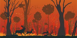 Natural Disaster Forest Fire Flat Vector Concept royalty free illustration