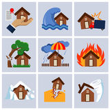 Natural disaster, house insurance business service vector icons. Royalty Free Stock Photo