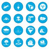 Natural disaster icon blue Royalty Free Stock Photo
