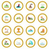 Natural disaster icon circle. Cartoon isolated vector illustration Royalty Free Stock Photos