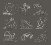 Natural disaster icon set Royalty Free Stock Images
