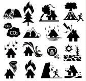 Natural disaster icon set. On white background Royalty Free Stock Photo