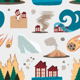 Natural disaster icon set pattern Stock Images