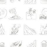 Natural disaster icon set pattern Stock Photos