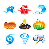 Natural disaster icons Stock Photo