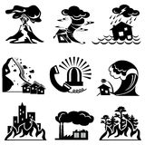 Natural disaster icons Stock Photos