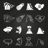 Natural disaster icons on chalkboard. Monochrome style. Vector illustration Stock Photography