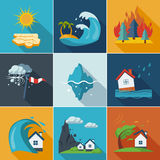 Natural Disaster Icons Royalty Free Stock Photo