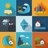 Natural Disaster Icons. Natural disaster, phenomena icons set flat style Royalty Free Stock Photo