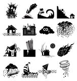 Natural disaster icons set. In black Royalty Free Stock Images