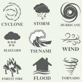 Natural disaster icons set Royalty Free Stock Image