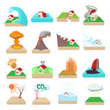 Natural disaster icons set, cartoon style Stock Photography