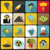 Natural disaster icons set, flat ctyle Royalty Free Stock Photo