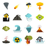 Natural disaster icons set, flat ctyle Royalty Free Stock Photography