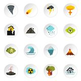 Natural disaster icons set, flat style. Natural disaster icons set. Flat illustration of 16 natural disaster vector icons for web Stock Images