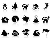 Natural disaster icons set. Isolated black Natural disaster icons set from white background Royalty Free Stock Image
