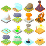 Natural disaster icons set, isometric 3d style Royalty Free Stock Photo