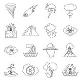 Natural disaster icons set, outline ctyle Stock Photo