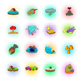 Natural disaster icons set, pop-art style Stock Photo