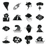 Natural disaster icons set, simple  Royalty Free Stock Photos