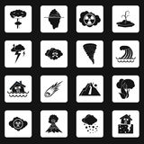 Natural disaster icons set, simple style. Natural disaster icons set in simple style. Catastrophes and crisis set collection vector illustration Stock Photo