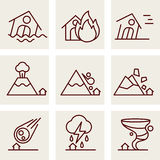 Natural Disaster Icons. Vector line style Royalty Free Stock Image