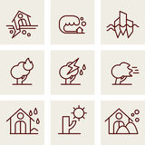 Natural Disaster Icons. Vector line style Royalty Free Stock Images