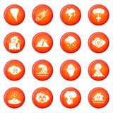 Natural disaster icons vector set Royalty Free Stock Images