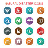 Natural disaster long shadow icons Stock Images