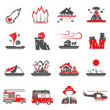 Natural Disaster Red Black Icons Collection. Natural disasters red black icons set with drought hazard and earth quake symbols abstract isolated vector Stock Photos