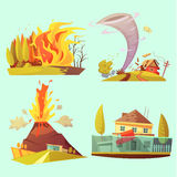 Natural Disaster Retro Cartoon 2x2 Icons Set. With fire flood volcanic eruption and tornado flat  vector illustration Royalty Free Stock Image